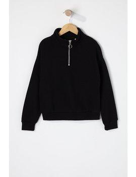 girls-basic-half-zip-sweater by urban-planet