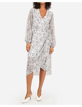 snakeskin-print-side-tie-midi-wrap-dress by express