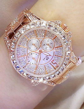 Women's Luxury Watches Diamond Watch Gold Watch Japanese Quartz Stainless Steel Silver / Gold / Rose Gold Analog Ladies Charm Fashion Bling Bling   Rose Gold Gold Silver  #06303990 by Lightinthebox