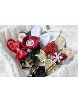 christmas-headband-set,-christmas-hair-bows-set,-gift-for-baby-girls,-christmas-headbands,-felt-headband-set,-christmas-bows,-red-headband by etsy