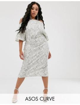 asos-design-curve-fallen-shoulder-lace-midi-dress by asos-design