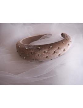 coffee_tan-velvet-padded-diamante-embellished-headband,-thick-headband-4cm,-embellished-headband by etsy