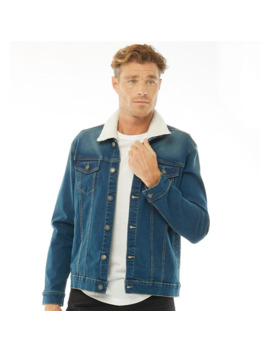 french-connection-mens-denim-borg-lined-jacket-vintage by french-connection
