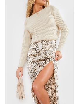 meggan-grubb-satin-stone-leopard-print-midi-skirt by in-the-style