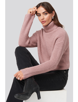 folded-polo-neck-knitted-sweater-różowy by hannalicious-x-na-kd