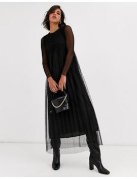 yas-pleated-tule-sheer-maxi-dress by yas