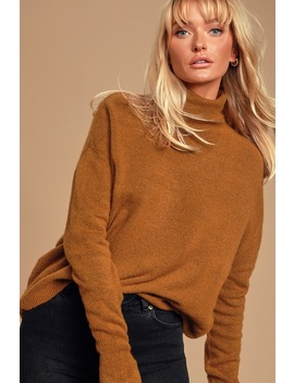 well-read-brown-knit-turtleneck-sweater by lulus