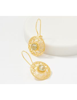 artisan-crafted-14k-gold-round-filigree-gemstone-drop-earrings by artisan-crafted