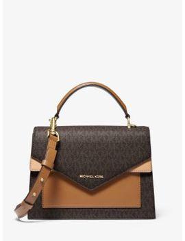 ludlow-medium-logo-and-leather-satchel by michael-michael-kors