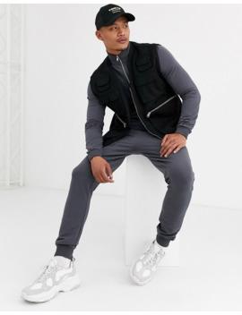 asos-design-muscle-tracksuit-with-zip-neck-sweatshirt-&-super-skinny-sweatpants by asos-design