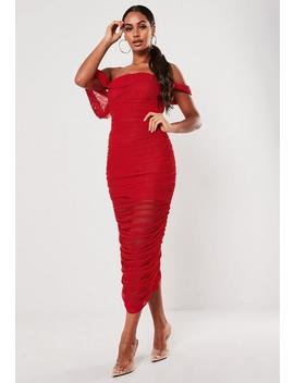 red-ruched-bardot-midi-dress by missguided