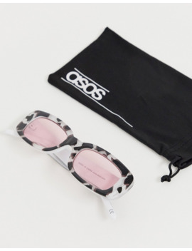 asos-design-rectangle-sunglasses-in-printed-plastic-with-pink-lens by asos-design
