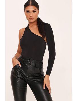 black-one-sleeve-wrap-bodysuit by i-saw-it-first