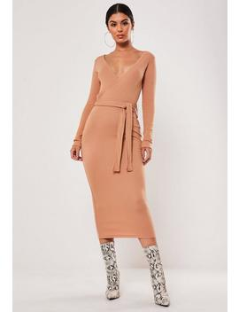 tan-ribbed-wrap-front-tie-belt-midi-dress by missguided