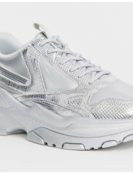 asos-design-sneakers-in-metallic-silver-with-chunky-sole by asos-design