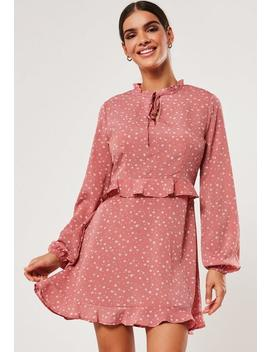 blush-floral-high-neck-frill-waist-tea-dress by missguided