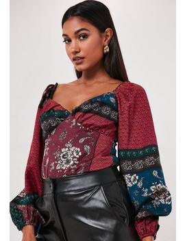 burgundy-scarf-print-milkmaid-top by missguided
