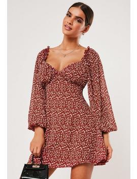 burgundy-floral-print-milkmaid-sleeve-mini-dress by missguided