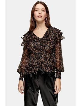 floral-glitter-ruffle-blouse by topshop