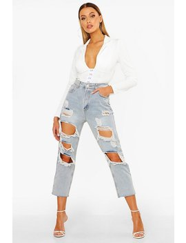 high-rise-distressed-vintage-wash-jean by boohoo