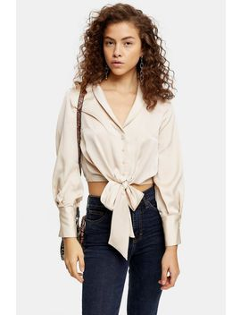 petite-satin-knot-front-blouse by topshop