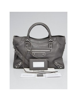 gris-acier-grained-chevre-leather-metallic-edge-motorcycle-city-bag by balenciaga
