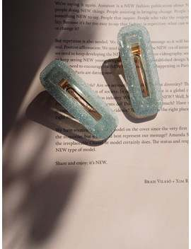 oliveira-green-square-fleck-sparkle-glitter-hair-clip-pack-of-2 by etsy