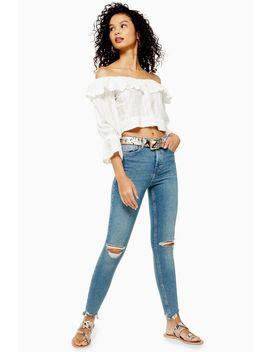 grünstichige-jamie-jeans-mit-ausgefranstem-saum by topshop
