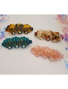 colourful-seashell-hair-clips-|-mermaid-shell-green-barrette-clips|-korean-hair-accessories|-tortoiseshell-resin-hair-clips by etsy