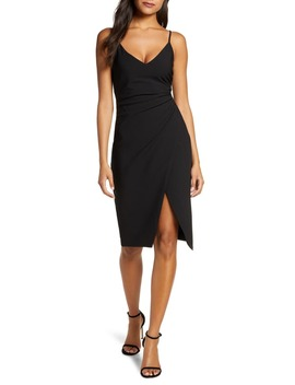 bowery-ruched-crepe-sheath-dress by black-halo
