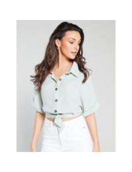 tie-front-cropped-shirt---mint by michelle-keegan