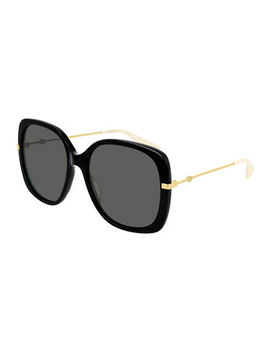 acetate-&-metal-rectangle-sunglasses by gucci