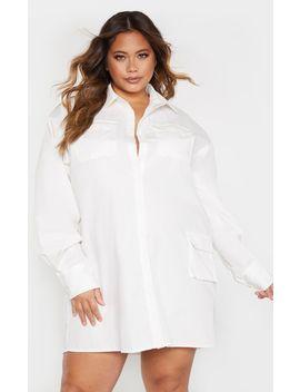 plus-white-pocket-detail-long-sleeve-shirt-dress by prettylittlething