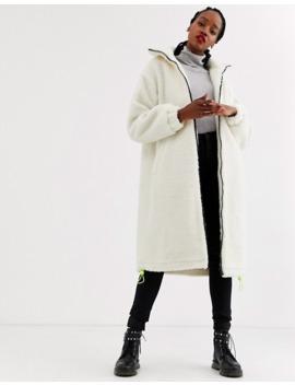 asos-design-longline-fleece-coat-with-neon-trim-detail-in-cream by asos-design