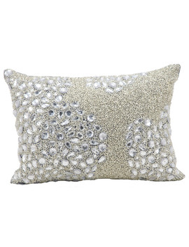 """mina-victory-luminescence-fully-beaded-pillow,-silver,-10""""x14"""" by nourison"""