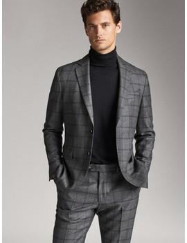 slim-fit-two-tone-check-wool-blazer by massimo-dutti