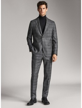 slim-fit-two-tone-check-wool-trousers by massimo-dutti