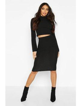 jumbo-ribbed-midi-skirt by boohoo
