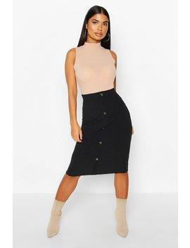 petite-button-through-rib-midi-skirt by boohoo