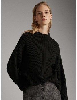funnel-collar-sweater-with-decrease-stitch-detail by massimo-dutti
