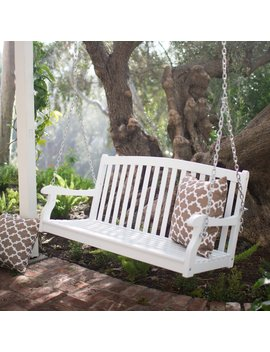 coral-coast-pleasant-bay-4-ft-white-curved-back-porch-swing-with-optional-cushion by hayneedle