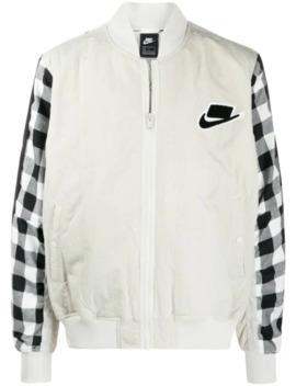 gingham-panelled-bomber-jacket by nike