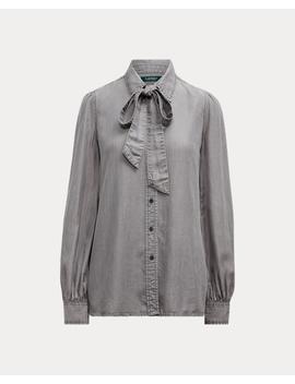 buttoned-tie-neck-blouse by ralph-lauren