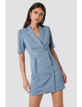 short-sleeve-blazer-dress-blå by nakdclassic