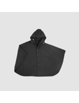 bonded-fleece-techwear-rain-poncho-in-black by muttonhead  ×