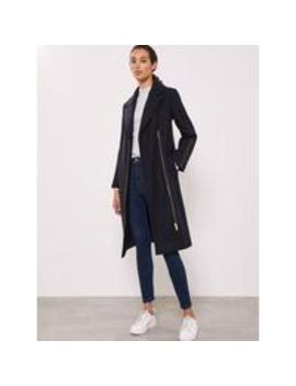 leather-patch-longline-coat by mint-velvet