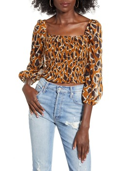 smocked-jacquard-woven-crop-top by joa
