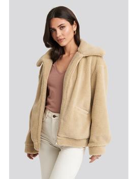 teddy-zipper-jacket-beige by na-kd
