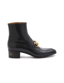 chain-motif-leather-boots by gucci