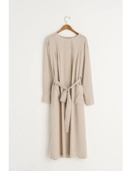open-back-wrap-dress,-beige by olive